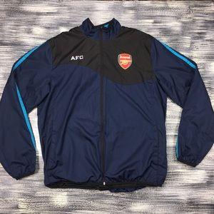ARSENAL Jacket Sz L Navy Blue Athletic Striped